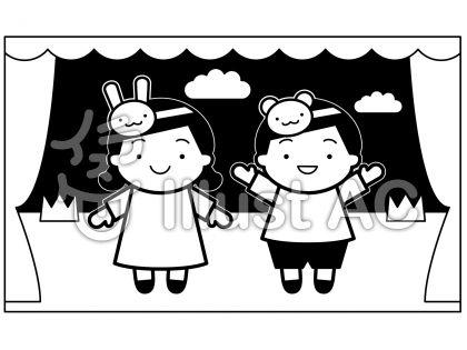 学芸会の無料フリーイラスト素材白黒モノクロ