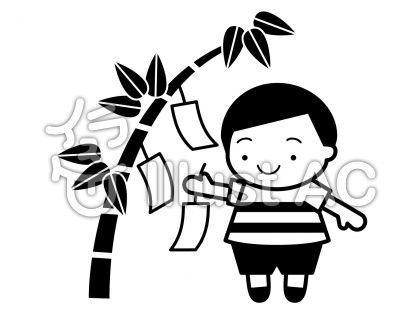 七夕の無料フリーイラスト素材白黒モノクロ