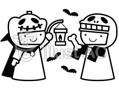 ハロウィンの無料フリーイラスト素材白黒モノクロ