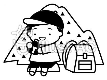 登山の無料フリーイラスト素材白黒モノクロ