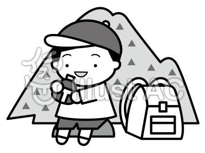 登山の無料フリーイラスト素材グレースケール