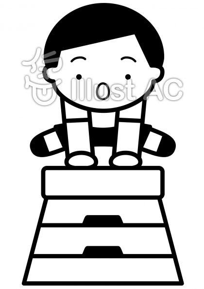 跳び箱の無料フリーイラスト素材白黒モノクロ