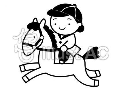 乗馬の無料フリーイラスト素材白黒モノクロ