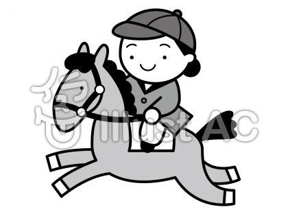 乗馬の無料フリーイラスト素材グレースケール