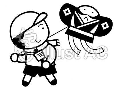 凧揚げの無料フリーイラスト素材白黒モノクロ