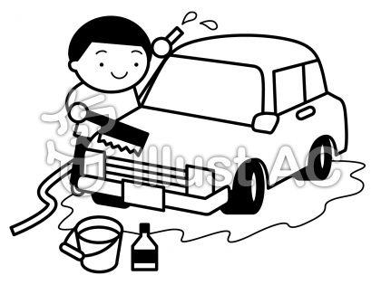 洗車の無料フリーイラスト素材白黒モノクロ