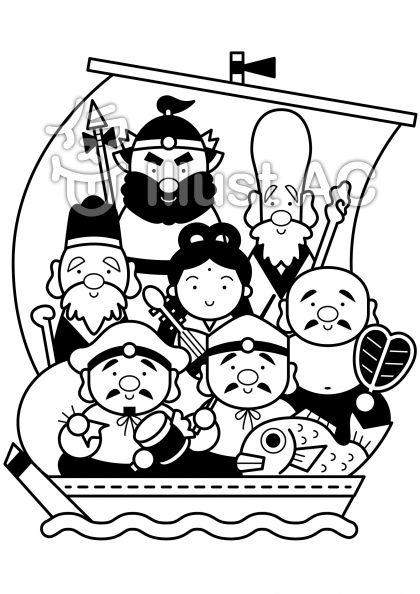 七福神の無料フリーイラスト素材白黒モノクロ