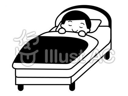 おやすみの無料フリーイラスト素材白黒モノクロ