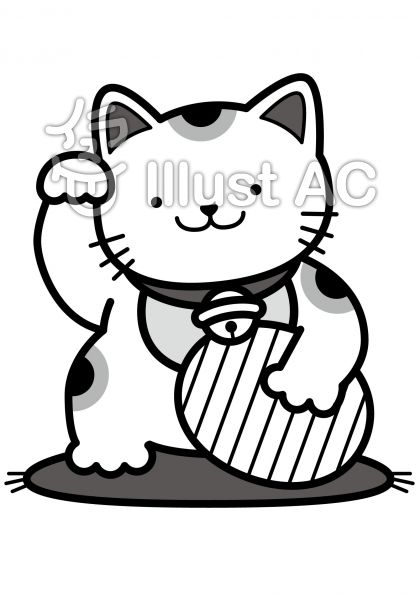 招き猫の無料フリーイラスト素材グレースケール