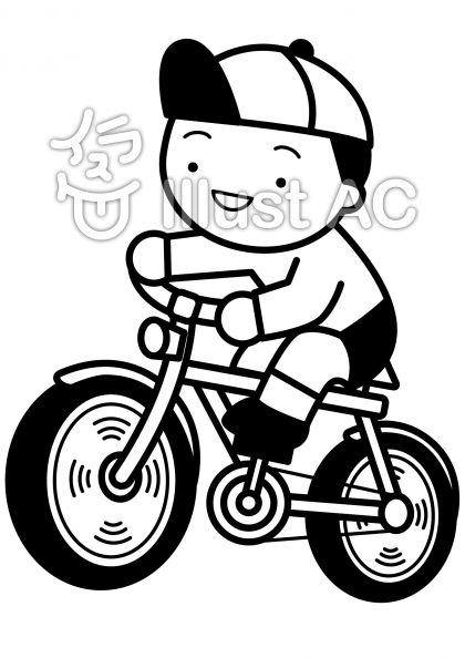 自転車の無料フリーイラスト素材白黒モノクロ