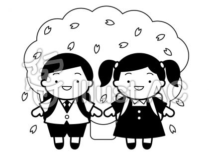 入学式の無料フリーイラスト素材白黒モノクロ