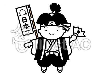 桃太郎の無料フリーイラスト素材白黒モノクロ