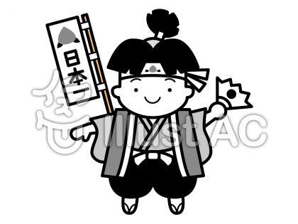 桃太郎の無料フリーイラスト素材グレースケール