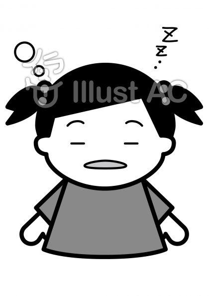 眠いの無料フリーイラスト素材グレースケール