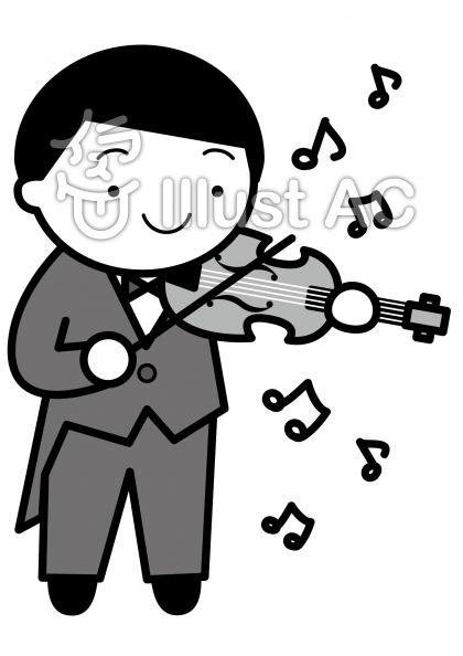 バイオリンの無料フリーイラスト素材グレースケール