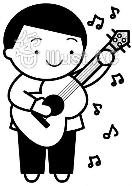 ギターの無料フリーイラスト素材白黒モノクロ