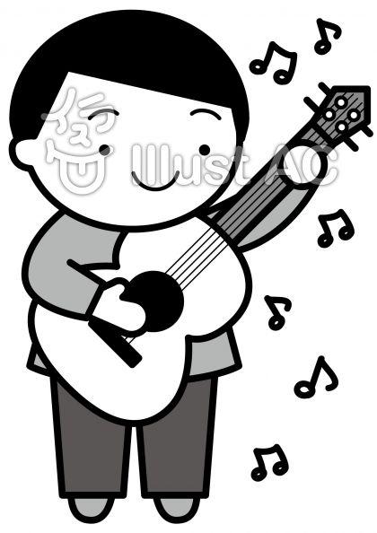 ギターの無料フリーイラスト素材グレースケール