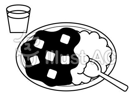カレーの無料フリーイラスト素材白黒モノクロ
