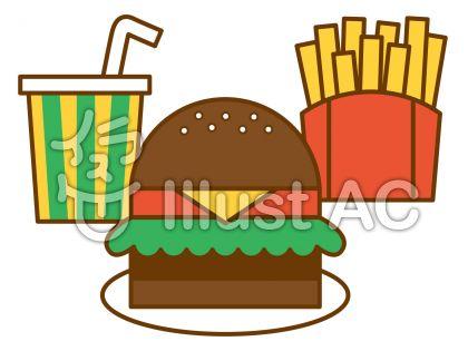 ハンバーガーの無料フリーイラスト素材