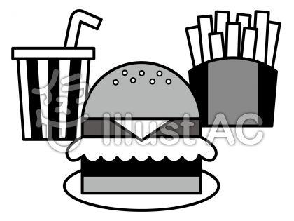 ハンバーガーの無料フリーイラスト素材グレースケール
