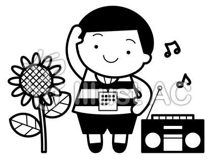 ラジオ体操の無料フリーイラスト素材白黒モノクロ