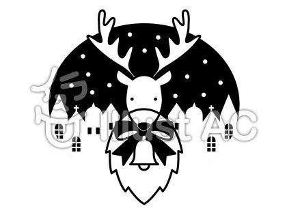 トナカイの無料フリーイラスト素材白黒モノクロ