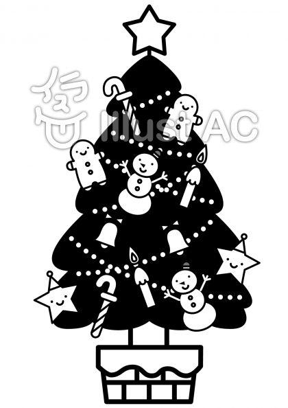 クリスマスツリーの無料フリーイラスト素材白黒モノクロ