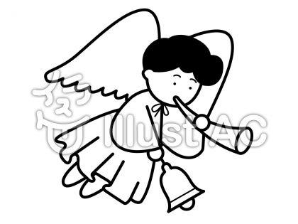 天使2の無料フリーイラスト素材白黒モノクロ