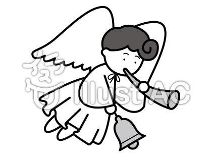 天使2の無料フリーイラスト素材グレースケール