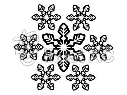 雪の結晶の無料フリーイラスト素材白黒モノクロ