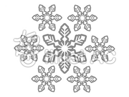 雪の結晶の無料フリーイラスト素材グレースケール