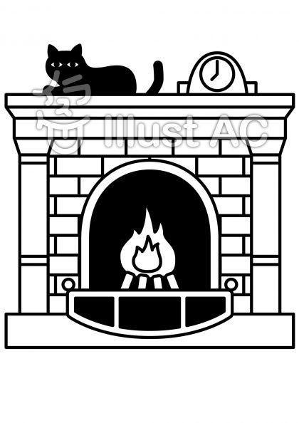 暖炉の無料フリーイラスト素材白黒モノクロ
