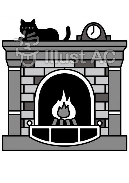 暖炉の無料フリーイラスト素材グレースケール