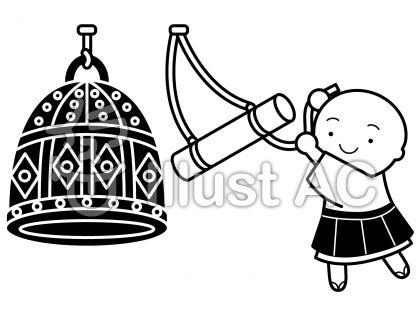 除夜の鐘の無料フリーイラスト素材白黒モノクロ