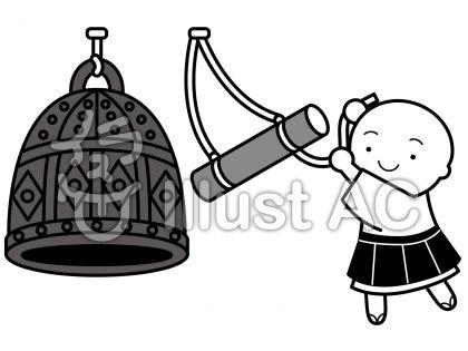 除夜の鐘の無料フリーイラスト素材グレースケール