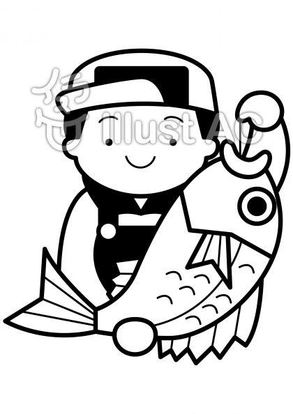 釣りの無料フリーイラスト素材白黒モノクロ