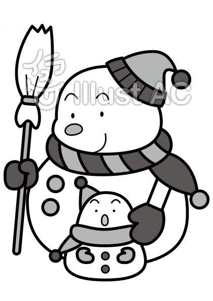 雪だるま親子の無料フリーイラスト素材グレースケール