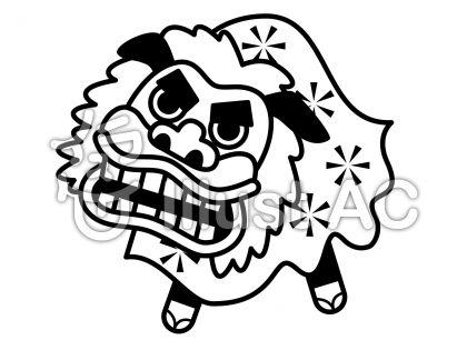 獅子舞の無料フリーイラスト素材白黒モノクロ