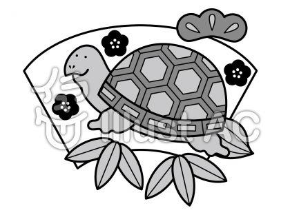 亀の無料フリーイラスト素材グレースケール