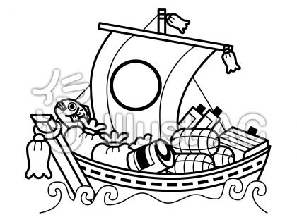 宝船の無料フリーイラスト素材白黒モノクロ