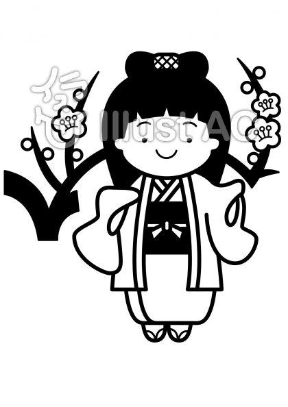 梅と着物の無料フリーイラスト素材白黒モノクロ
