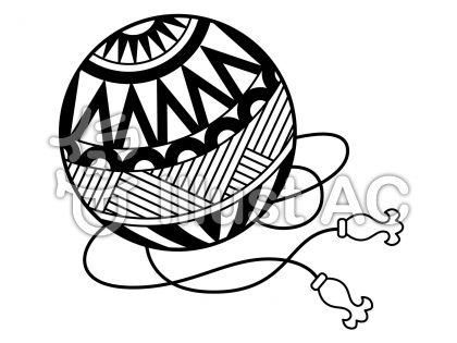 鞠の無料フリーイラスト素材白黒モノクロ