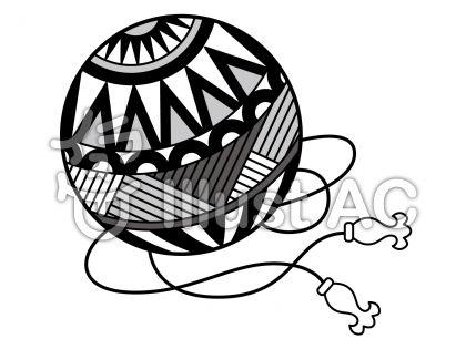 鞠の無料フリーイラスト素材グレースケール