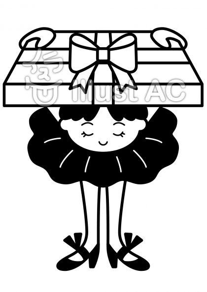 プレゼントの無料フリーイラスト素材白黒モノクロ