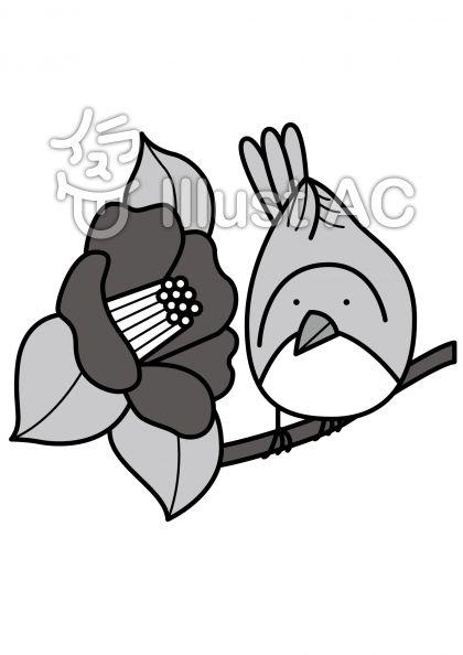 椿とウグイスの無料フリーイラスト素材グレースケール