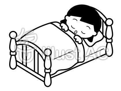 ベッドの無料フリーイラスト素材白黒モノクロ
