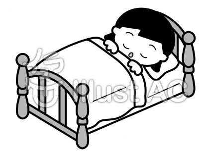 ベッドの無料フリーイラスト素材グレースケール