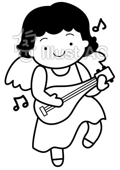 天使3の無料フリーイラスト素材白黒モノクロ