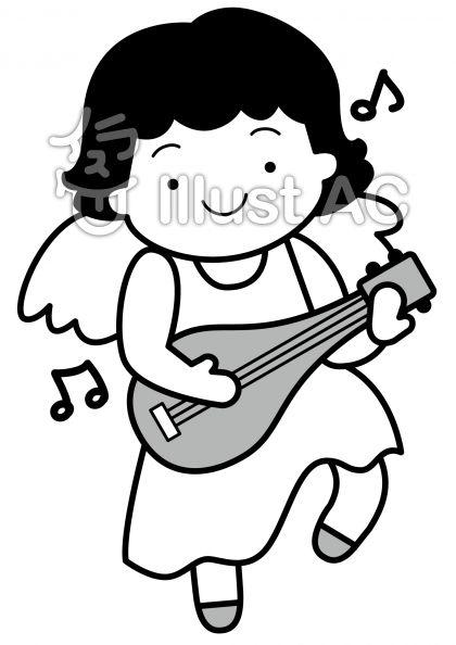 天使3の無料フリーイラスト素材グレースケール