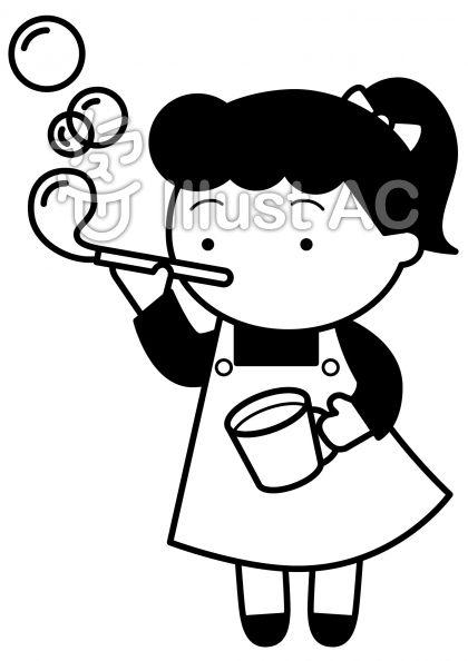 シャボン玉の無料フリーイラスト素材白黒モノクロ